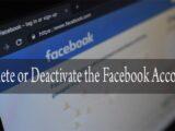 delete or activate Facebook account
