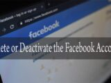 delete or activate Facebook account
